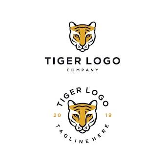 Modelo de design de logotipo de vetor de cabeça de tigre