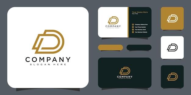 Modelo de design de logotipo de vetor de iniciais da letra d e cartão de visita