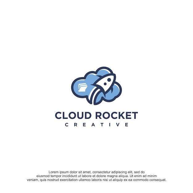 Modelo de design de logotipo de vetor de nuvem foguete