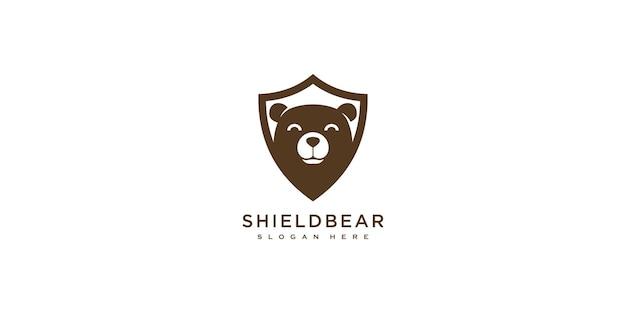 Modelo de design de logotipo de vetor de urso escudo