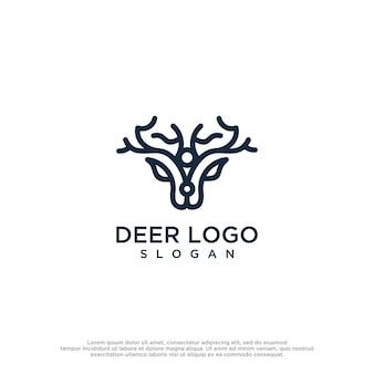 Modelo de design de logotipo de vetor de veado