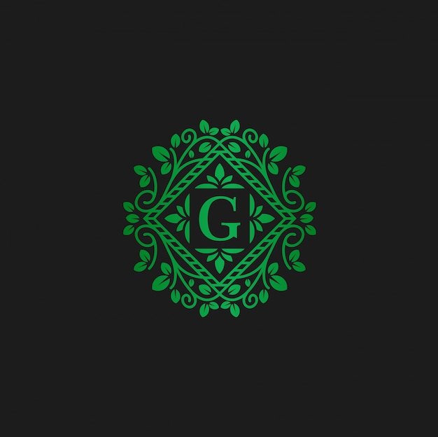 Modelo de design de logotipo de vetor e carta g eco flores