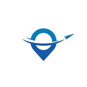 Modelo de design de logotipo de viagem de avião de papel