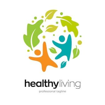 Modelo de design de logotipo de vida saudável