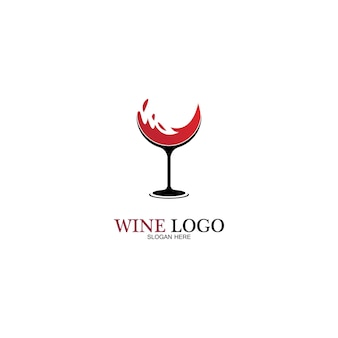 Modelo de design de logotipo de vinho. ilustração em vetor de ícone-vetor