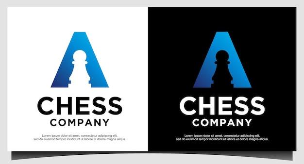 Modelo de design de logotipo de xadrez