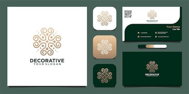Modelo de design de logotipo decorativo e cartão de visita