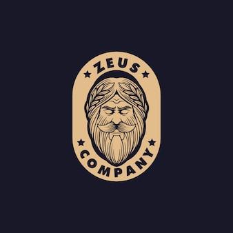 Modelo de design de logotipo deus grego zeus