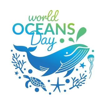 Modelo de design de logotipo do dia mundial dos oceanos
