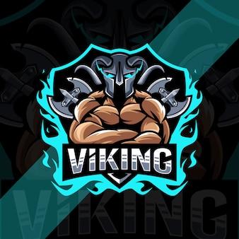Modelo de design de logotipo do mascote viking