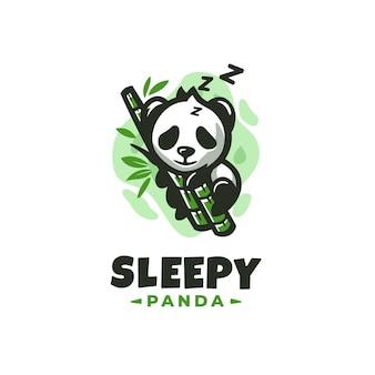 Modelo de design de logotipo do panda sonolento com detalhes bonitos