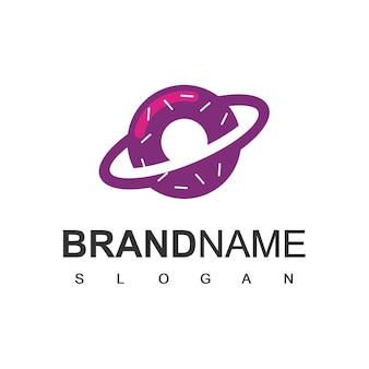 Modelo de design de logotipo donuts planet