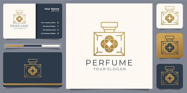 Modelo de design de logotipo dourado de perfume de luxo com cartão de visita
