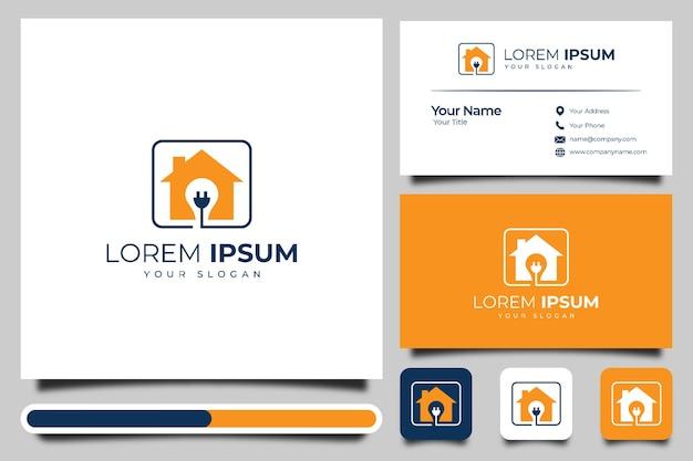 Modelo de design de logotipo e cartão de visita criativo em casa e luz elétrica.