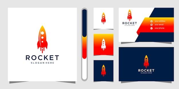Modelo de design de logotipo e cartão de visita do foguete. Vetor Premium
