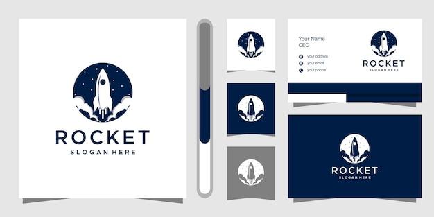 Modelo de design de logotipo e cartão de visita do foguete.