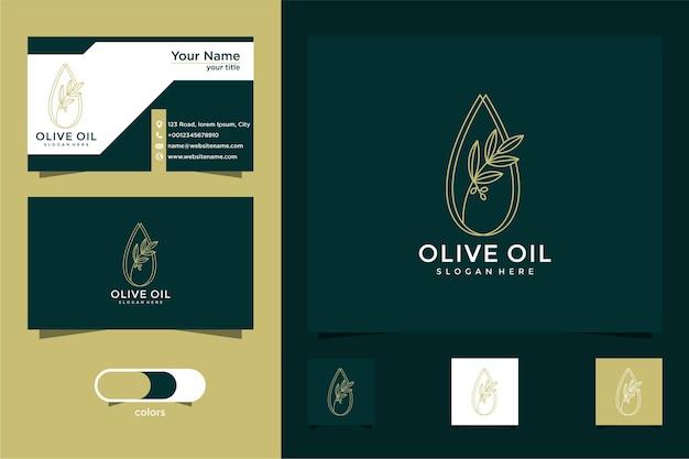Modelo de design de logotipo e cartão de visita oliver drop marca óleo beleza cosméticos ícone saúde