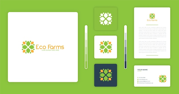 Modelo de design de logotipo eco farms