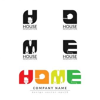 Modelo de design de logotipo em casa isolado