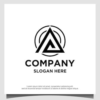 Modelo de design de logotipo em triângulo ou letra a