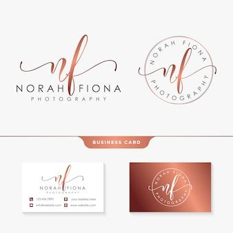 Modelo de design de logotipo feminino inicial nf