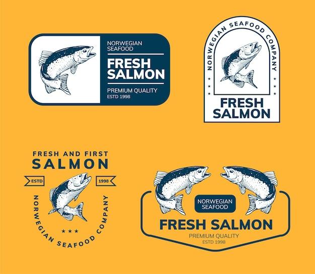 Modelo de design de logotipo fisihing e salmão