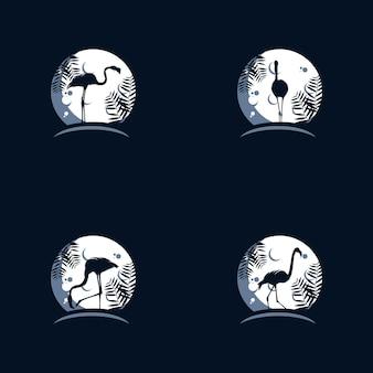Modelo de design de logotipo flamingo na lua