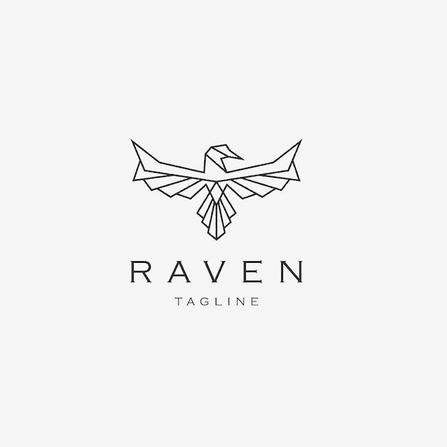 Modelo de design de logotipo geométrico poligonal de pássaro corvo voando