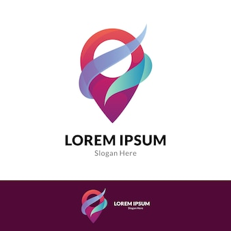Modelo de design de logotipo gradiente de ponto de pino