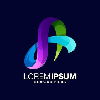 Modelo de design de logotipo gradiente letra a