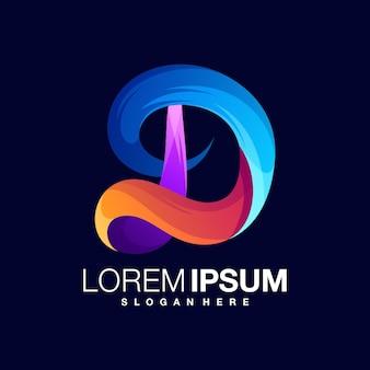 Modelo de design de logotipo gradiente letra d