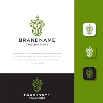 Modelo de design de logotipo grow leaf