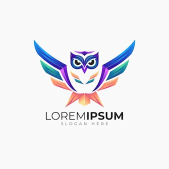 Modelo de design de logotipo impressionante coruja para negócios