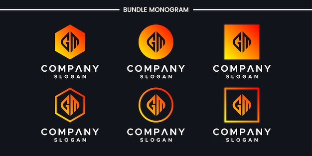 Modelo de design de logotipo iniciais gm.