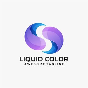 Modelo de design de logotipo líquido colorido