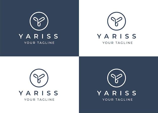 Modelo de design de logotipo minimalista da letra y com forma de círculo