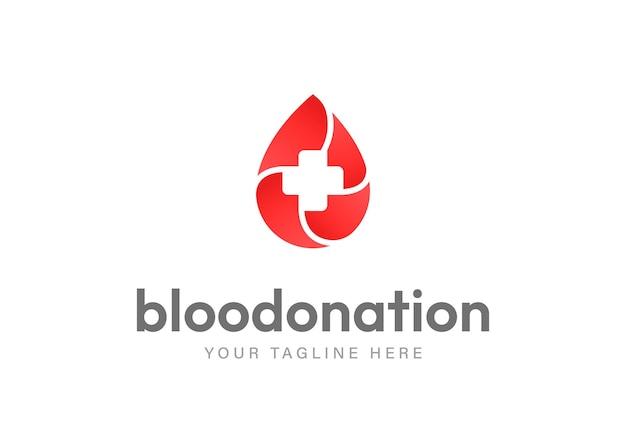 Modelo de design de logotipo minimalista para campanha de doação de sangue