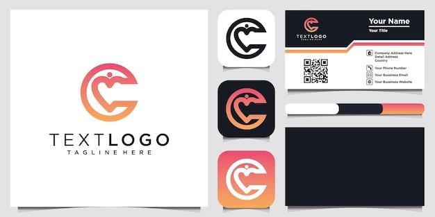 Modelo de design de logotipo mínimo abstrato letra c inicial e cartão de visita