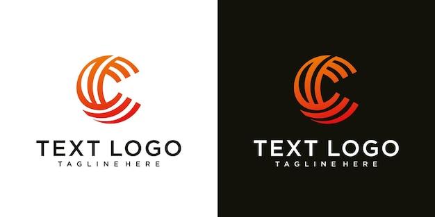 Modelo de design de logotipo mínimo abstrato letra c inicial