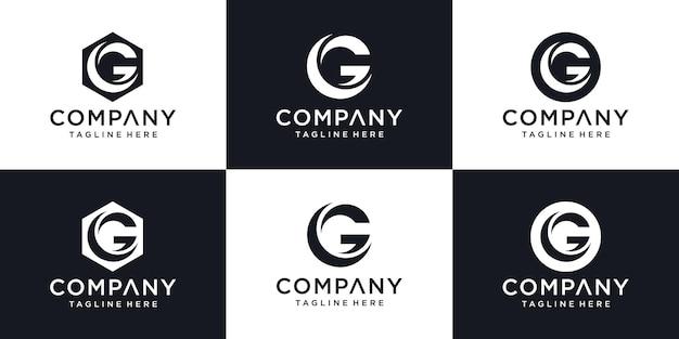 Modelo de design de logotipo mínimo abstrato letra g