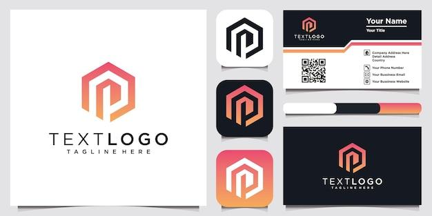 Modelo de design de logotipo mínimo abstrato letra h e cartão de visita