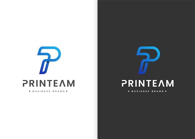 Modelo de design de logotipo moderno com letra p