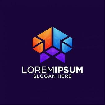Modelo de design de logotipo moderno criativo colorido abstrato