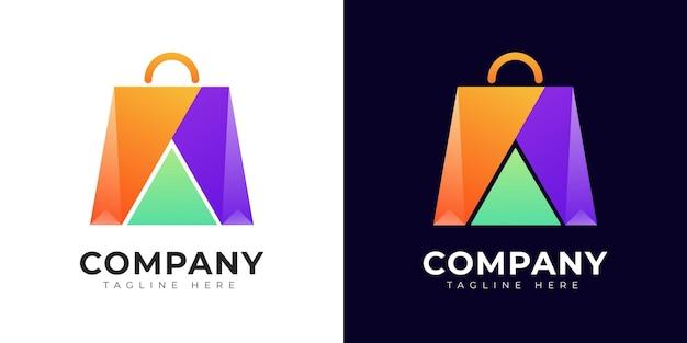 Modelo de design de logotipo moderno e colorido para compras