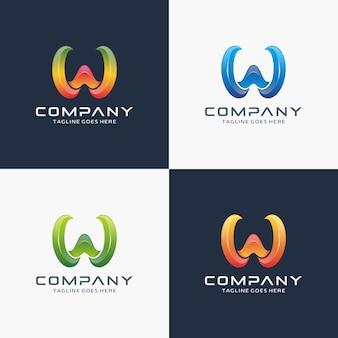 Modelo de design de logotipo moderno letra w 3d