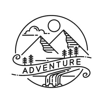 Modelo de design de logotipo monoline mountain outdoor