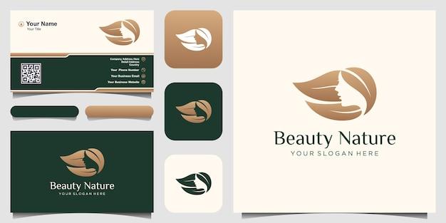 Modelo de design de logotipo natural de mulheres de beleza. rosto de mulher combinado com o elemento folha.