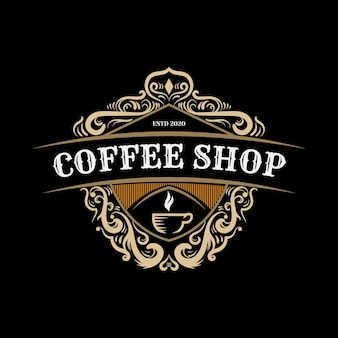 Modelo de design de logotipo ornamental de cafeteria