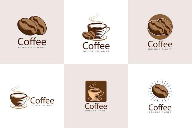 Modelo de design de logotipo para café