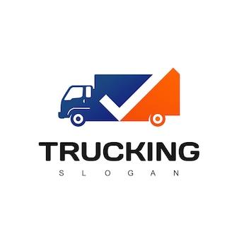 Modelo de design de logotipo para caminhões, expedição e logística